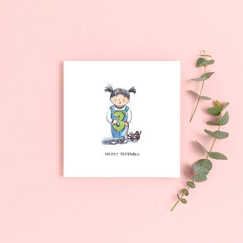Girl Age 3 Birthday Card