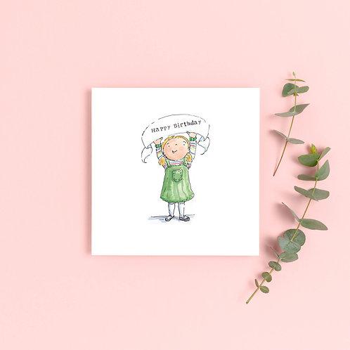 Girl Birthday Banner Greetings Card