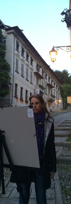 Setting up for night painting in Lake Orta, Italy.