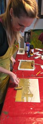 Teaching a lino-cutting class