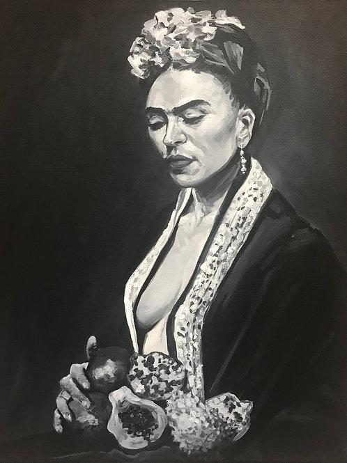 Frida Khalo and Fruit - Monochrome