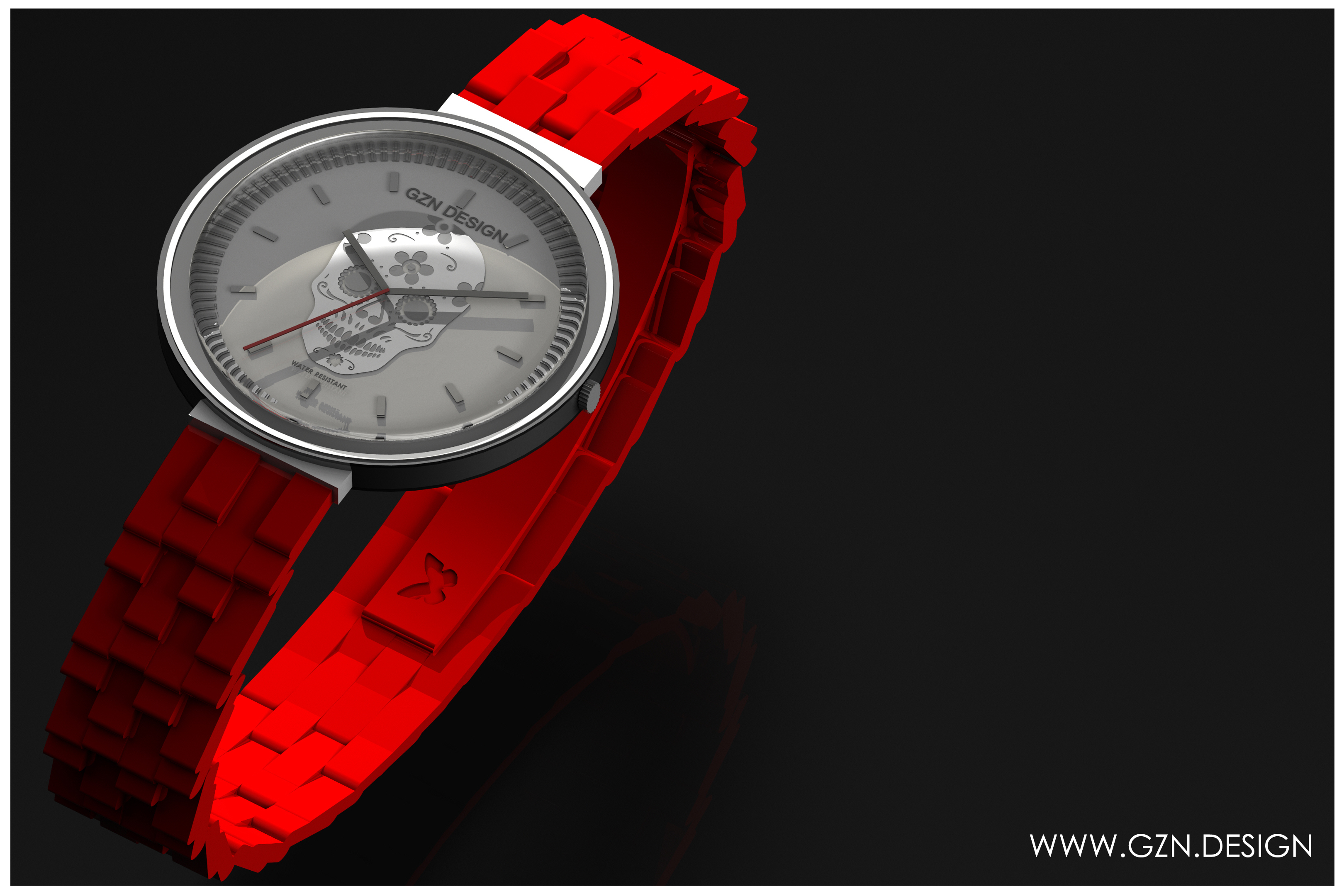 Montre GZN DESIGN ROUGE LOGO