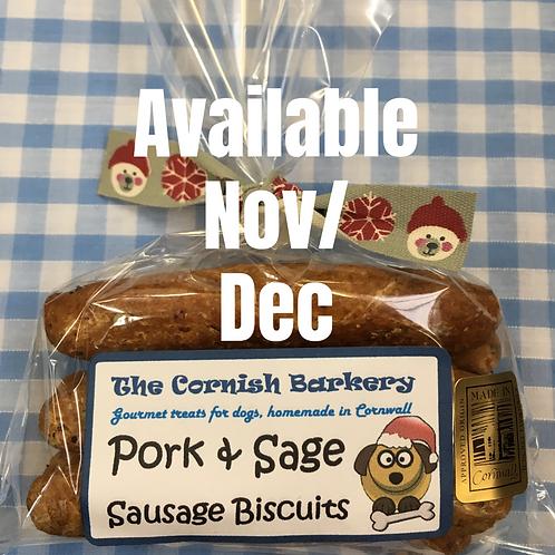 Festive Wholemeal Pork & Sage Sausage Biscuits
