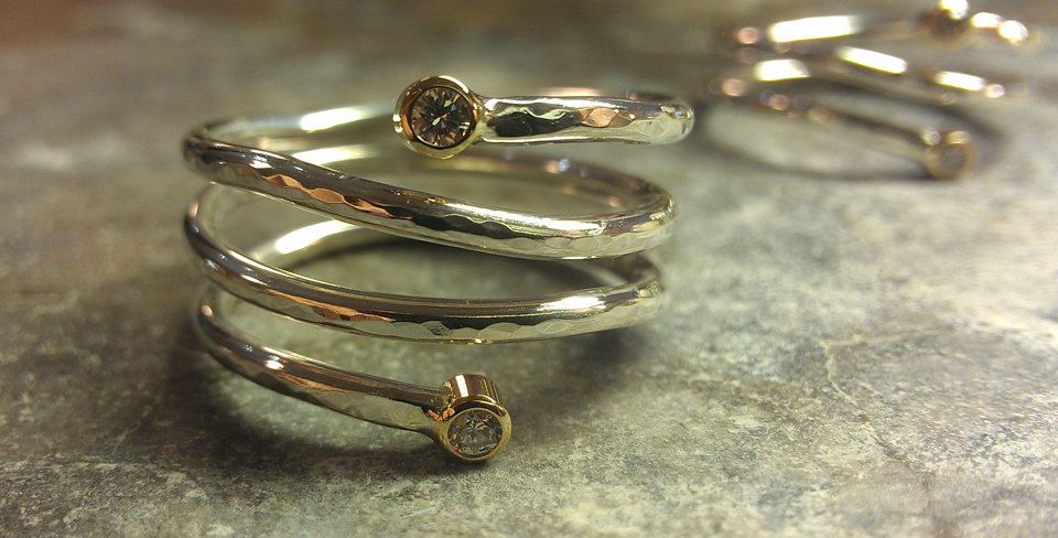 Hammered Spiral Ring with Diamonds