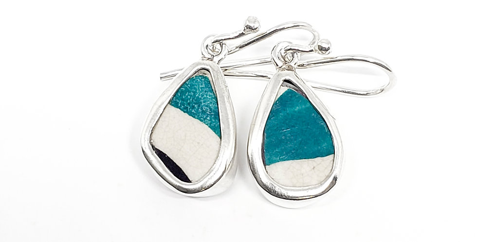 Chaney Teal and white earrings