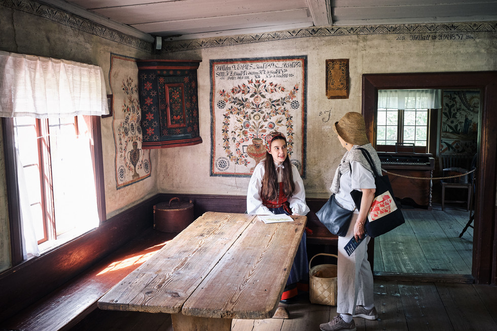 SWEDEN / Stockholm / 21.06.2019 / At Skansen, Stockholm`s open air museum, in every building and around the area there are interpreters in authentic dresses telling you what life was like in Sweden in the old days. Here at Delsbogården, a farmstead from Hälsingland, approx. 1850. © Gregor Kallina
