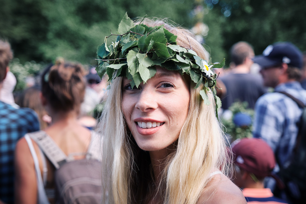 SWEDEN / Stockholm / 21.06.2019 / At Skansen, Stockholm`s open air museum. Young lady with braided birch twigs in her hair, a typical midsummer custom in Sweden. © Gregor Kallina