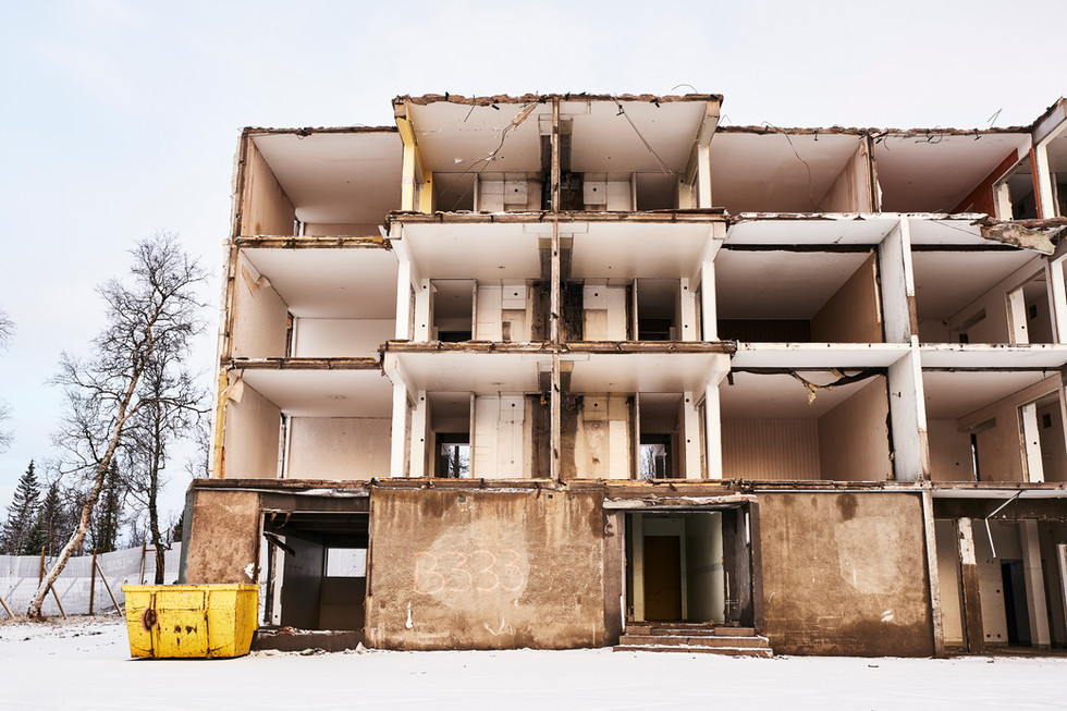 """SWEDEN / Norrbottens laen / Kiruna / 13.11.2018 / From my award-winning fotostory """"Iron Heart"""". Demolished house in the area of Ullspiran to make way for extended mining operations. © Gregor Kallina / Anzenberger"""