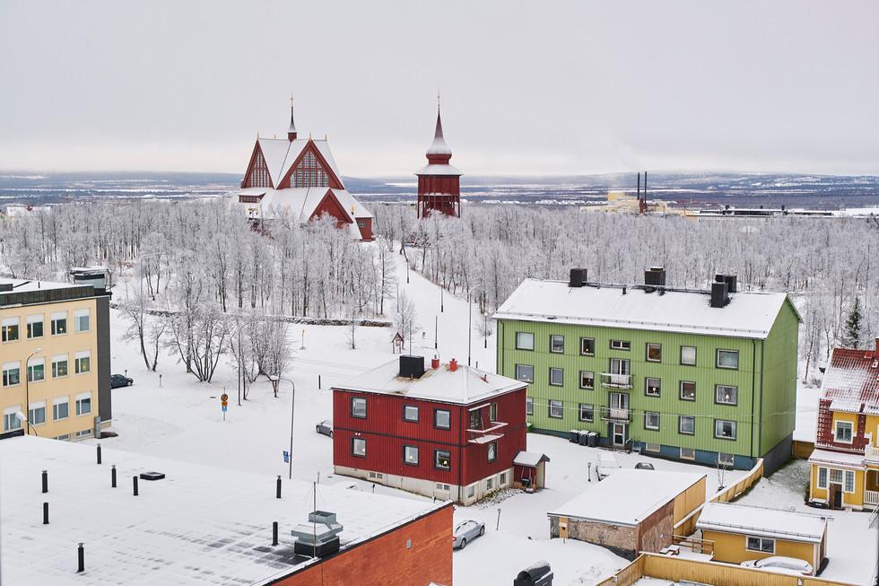 "SWEDEN / Norrbottens laen / Kiruna / 10.11.2018  / From my award-winning fotostory ""Iron Heart"". View on Kiruna Kyrka and other town houses. © Gregor Kallina / Anzenberger"