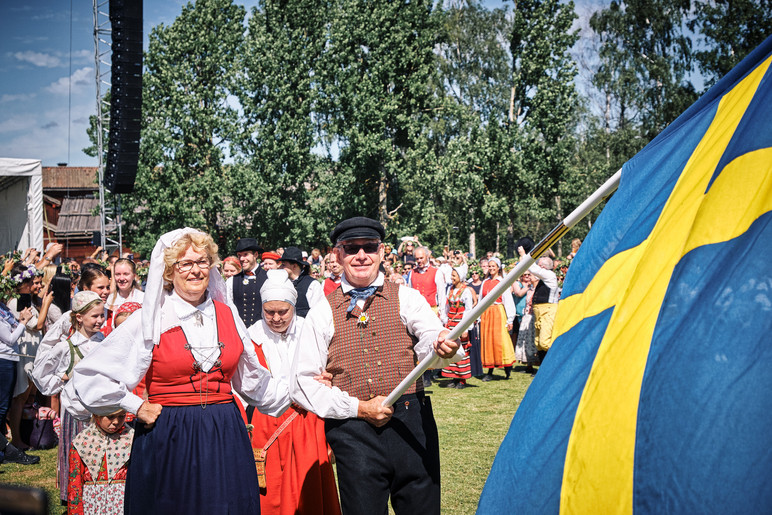 SWEDEN / Stockholm / 21.06.2019 / Midsummer festivities with one of the country-wide folk music groups, performing at Skansen, Stockholm`s open air museum. © Gregor Kallina