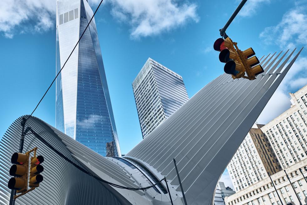 USA / New York City / 04.03.2018 / The Ocolus and One World Trade Center.