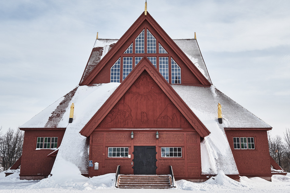SWEDEN / Norrbottens laen / Kiruna / 10.03.17 / Kiruna Church ( Kiruna Kyrka ) designed by Gustav Wickman and built between 1909 - 1912 . The church resembles the Lavvu, the typical tent - like construction of the Sami people. The church will be dimantled part for part and rebuilt at its new site. © Gregor Kallina / Anzenberger