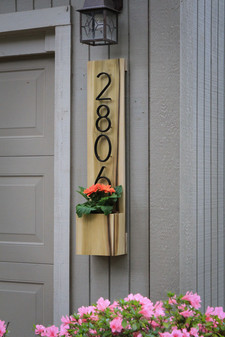 Custom Address Sign with Flower Pot