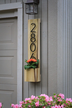 Custom Address Sign with Flower Pot