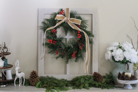 Rustic Window Frame with Seasonal Wreath