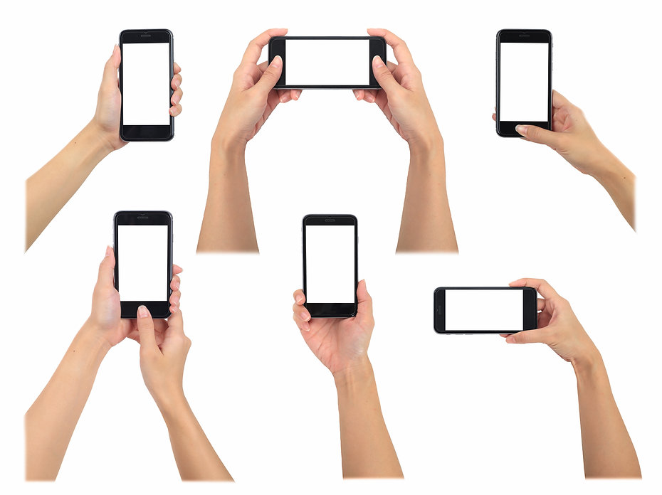 Female holding smart phone 6 various pho