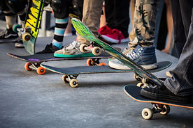 A skateboarder in action at Venice Beach