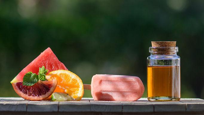 Ice Pops Ingredients watermelon orange lime honey