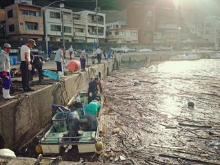 台風通過後の港内清掃!