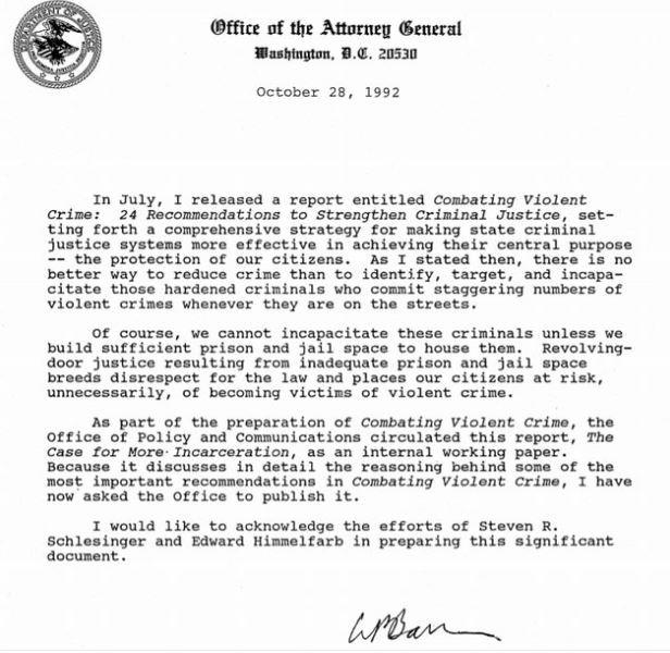 William Barr Letter describing mass incarceration