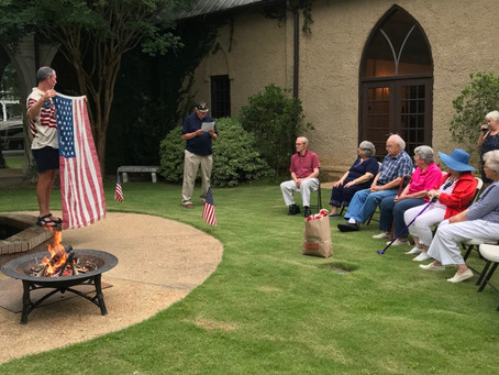 St. James, Eufaula, holds patriotic dinner and flag retirement ceremony