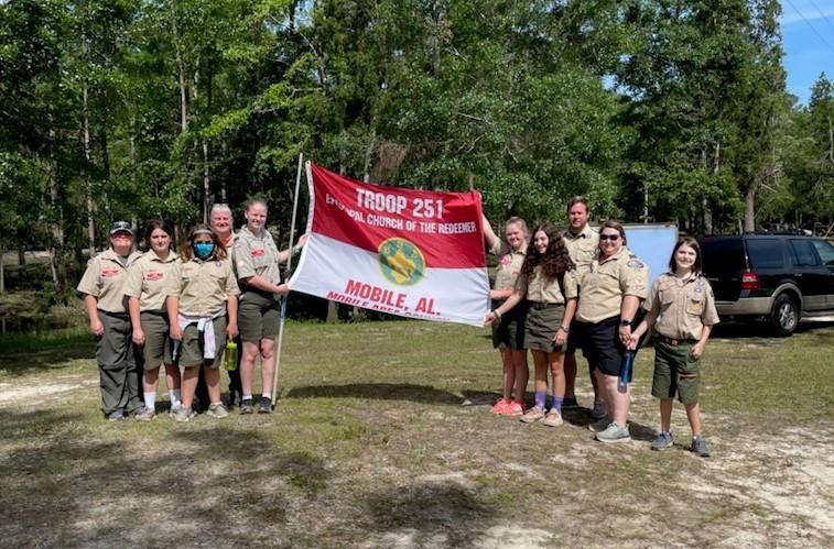 BSA Troop 251 with flag