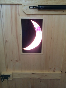 Rustic Red Stainless Glass Moon