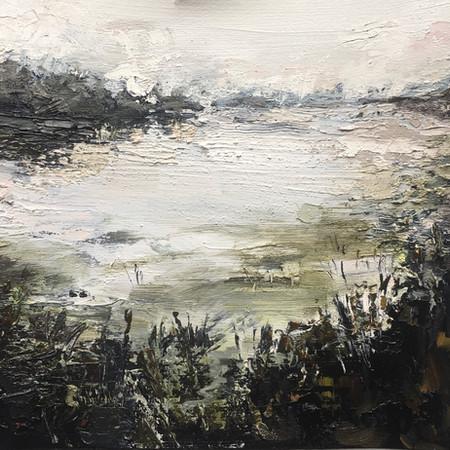 Whispering Lake | Oil On Canvas | Image size 23cm x 23cm | Frame size 43cm x 43cm