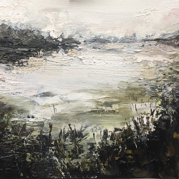 Whispering Lake - Oil On Canvas- Image size 23cm x 23cm - Frame size 43cm x 43cm