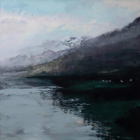 Black Swan | 70cm x 70cm | Oil On Canvas in white tray frame