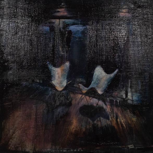 Midnight Butterflies - Oil On Canvas - 40cm x 40cm