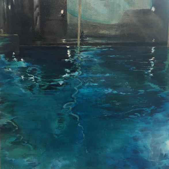 Early swim Oil on canvas 50cm x 50cm