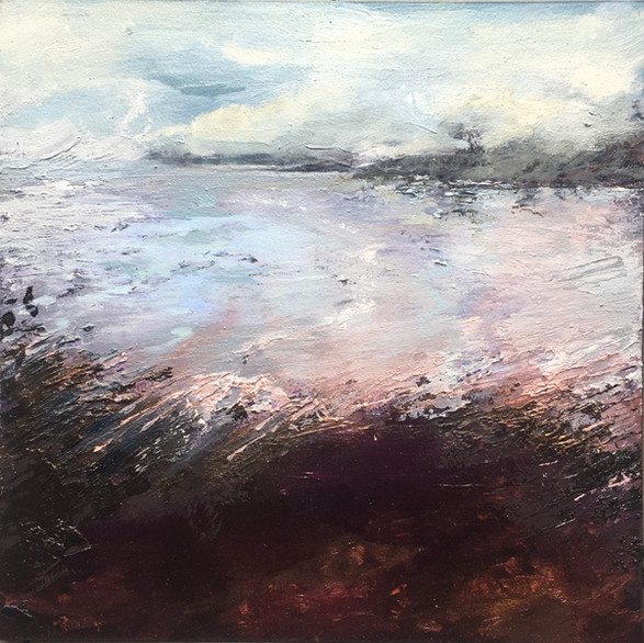 Somnolent Lake - Oil On Canvas - Image size 22cm x 22cm. Frame size 43cm x 43cm