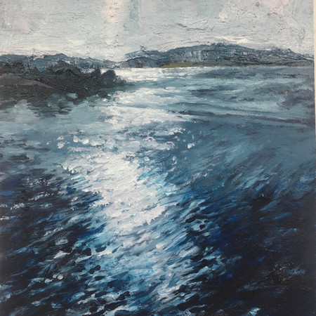 Blue Lake | Oil on Fabriano paper, white wood frame | Image size 17cm x17cm | Frame size 37cm x 38cm