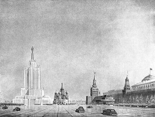Moscow city day and Stalins's skyscrapers