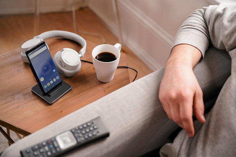 end table with phone charging on Ubio Labs wireless charging stand