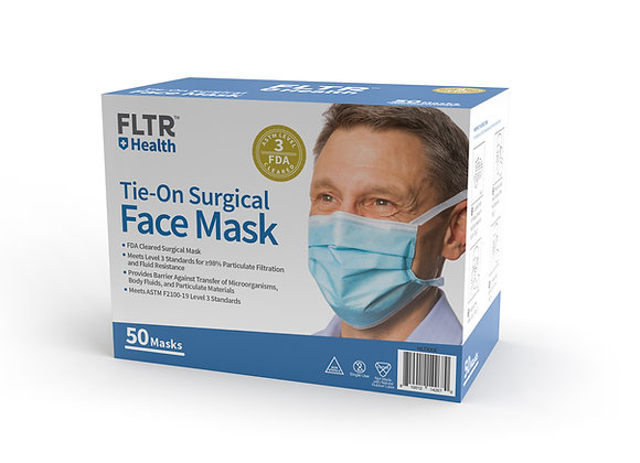 Tie-On Surgical Face Mask (ASTM Level 3) 50PK - Blue