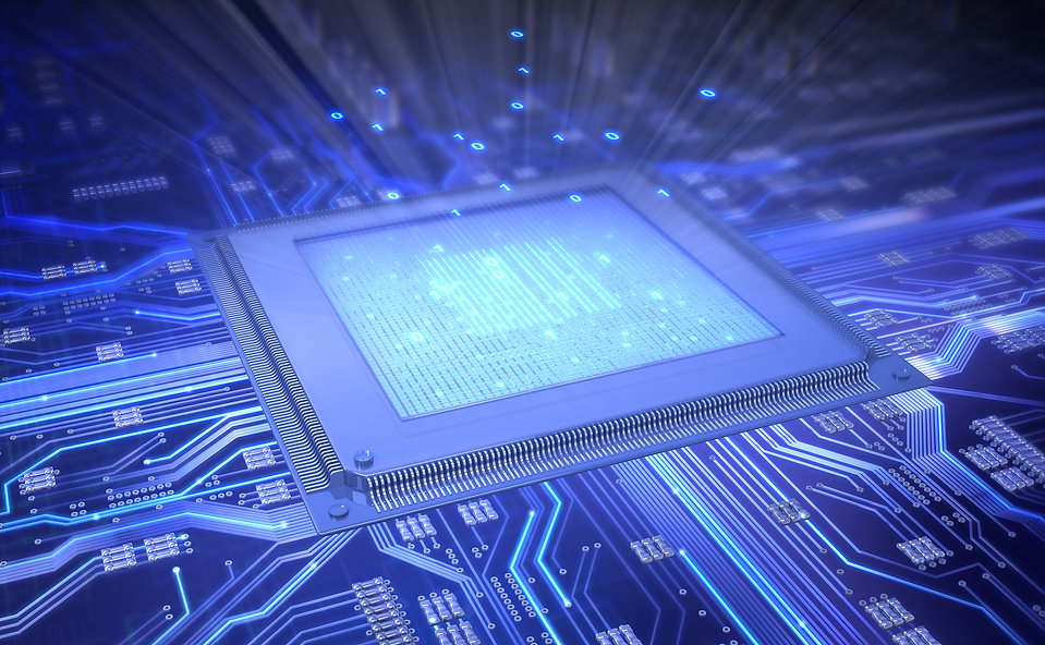 Stylized silicon chip close up