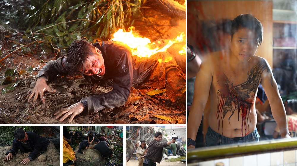 Being set on fire and getting a scarred chest tattoo on 'Tombiruo : Penunggu Rimba' (2017)