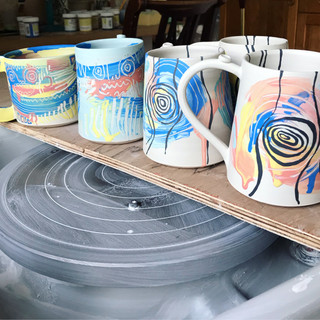 Mugs ready for Bisque