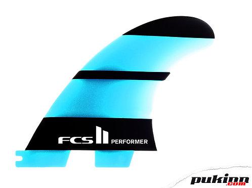 FCS II Fins Performer Neo Glass Tri Medium - Blue/Black