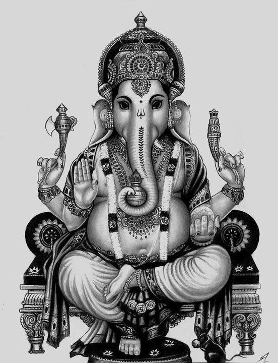 Line drawing of Ganesha, the 'remover of obstacles'. Is having this image in your home cultural appropriation if you're not a Hindu?