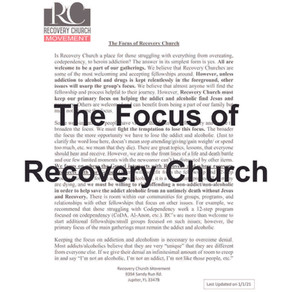 The Focus of Recovery Church