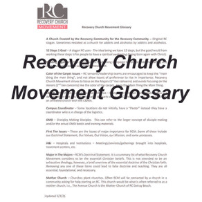 Recovery Church Movement Glossary