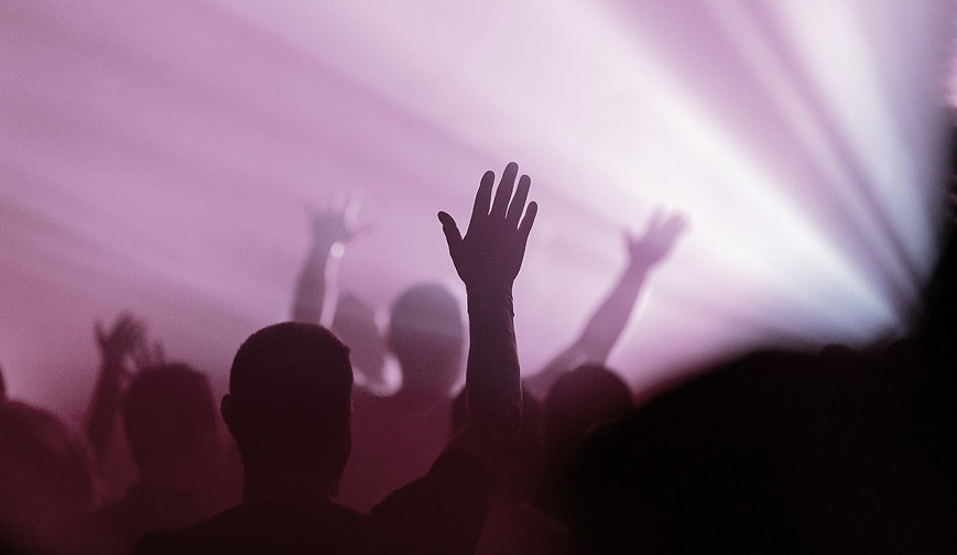 Hands lifted in Worship Service
