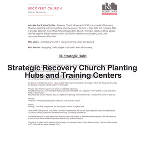Strategic Recovery Church Planting Hubs and Training Centers