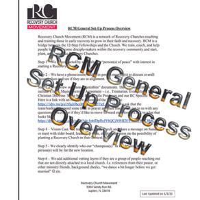 RCM General Set Up Process Overview