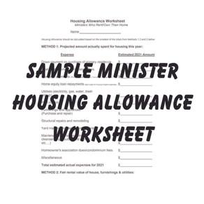 Sample Minister Housing Allowance Worksheet