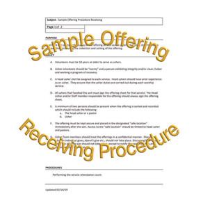 Sample Offering Receiving Procedure