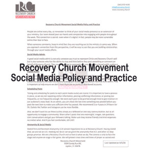 Recovery Church Movement Social Media Policy and Practice